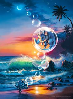 Evening at the Beach by arkeis-pokemon.deviantart.com on @DeviantArt (Poliwag and Vaporeon)