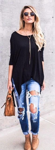#Summer #Outfit Black Blouse + Destroyed Bleached Jeans + Nude Suede Pumps.