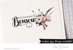 Premade logo design floral bouquet logo feather by MadameLevasseur