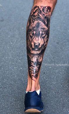 Full Leg Tattoos, Best Sleeve Tattoos, Wolf Tattoos, Skull Tattoos, Arm Tattoos For Guys, Animal Tattoos, Tatoos, African Sleeve Tattoo, Animal Sleeve Tattoo
