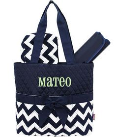 Personalized Diaper Bag Navy Blue Chevron Quilted by parsik93- for Mason