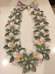 Homemade flower money lei.