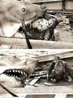 Filming Jaws.. Robert Shaw, after filming a physically grueling scene.