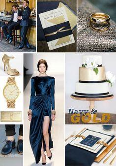 combinaciones de colores para bodas - azul y dorado