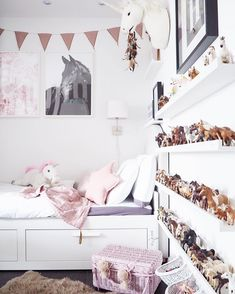 Lovely pink room featuring our bunting garland in dusty pink & Nana Swaddle