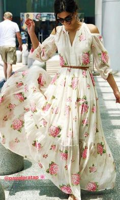 Floral dress Floral Dress Outfits, Floral Maxi Dress, Chiffon Dress, Casual Dresses, Fashion Dresses, Summer Dresses, Maxi Dress With Sleeves, Dress Skirt, Half Sleeves