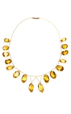 Shop Antique Seed Pearl and Citrine Fringe Necklace by Simon Teakle for Preorder on Moda Operandi