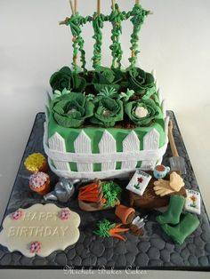 Gardening Cake Cake by MicheleBakesCakes Allotment Cake, Vegetable Cake, Vegetable Garden, 80 Birthday Cake, Dad Cake, Puppy Cake, Cakes Plus, Rabbit Cake, Cake Decorating Supplies