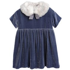 Il Gufo Blue Silk & Velvet Dress with Fur Collar at Childrensalon.com