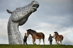 Enormous equines-   The Kelpies, created by sculptor Andy Scott, gracefully stretching out of the 864-acre Helix land transformation project in Falkirk, Scotland. At over 98 feet tall, The Kelpies are among the tallest public sculptures in the United Kingdom and cost more than $8 million to complete.