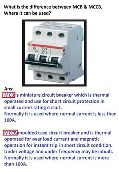 What is difference between MCB, and MCCB | Electrical Engineering World