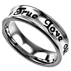 TRUE LOVE WAITS 1 Timothy 4:12 Women's Christian Truth Band Ring, Stainless Steel