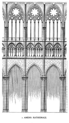 Amiens Cathedral - elevation of the nave. The cathedral has a three story elevation: spacious arcade capped by a prominent foliate band, a blind triforium in the nave and glazed in the choir and a tall clerestory. With a height of some forty-two meters the vertical space is divided into two equal parts by the foliage band.