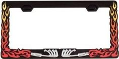 "1 , EXHAUST FLAME , License Plate Frame, Chrome, Exhaust, Red & Yellow Flames, on, Black Background, Metal, Holder, for, Standard, Plates, each, Frame, is, about, 12.2"" Wide X 6.2"" Tall X .25"" Thick,,,,,,,SHIPPED USPS,,,,,,,, by ASTRODEALS, http://www.amazon.com/dp/B00BU8PE0C/ref=cm_sw_r_pi_dp_5eLvrb0SYB7G8"
