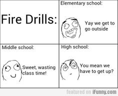 Fire Drills. been through elementry school:so true. almost through middle school: so true. not yet to highschool. seems true.