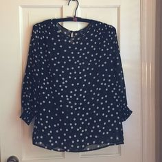 F21 Sheer Black Polka Dot Top So cute Forever 21 sheer back polka dot top.  A few pulls in it noted in pics and in listing price.  Pulls are completely unnoticeable when worn with layering cami underneath. Forever 21 Tops