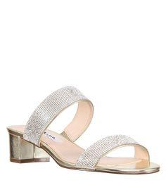 45bb1e9b376ca0 Nina Georgea Metallic Block Heel Dress Sandals