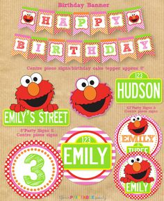 ELMO Party Package - Girls  -  PERSONALIZED - Print Yourself . by Your Printable Party