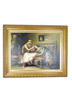 Cuadro con pintura al óleo sobre lienzo. Caña fabricada en madera bañada en pan de oro envejecido.  Medidas pintura 75 x 100 cm.  Perfecto para completar la decoración de tu salón, recibidor, con un toque de distinción y elegancia.  Envío gratis en 24h.