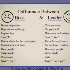 Difference between a good and bad boss. Its hard to like a boss who takes credit for my ideas, plays favorites by paying under performing employees more, has mood swings and cant even do his own fucking job. Dont miss my old job. Boss Vs Leader, Leader In Me, Team Leader, Being A Leader, Coaching, Bad Boss, Management Styles, Project Management, Classroom Management