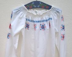 Check out our embroidered blouse selection for the very best in unique or custom, handmade pieces from our blouses shops. Bell Sleeves, Bell Sleeve Top, Embroidered Blouse, Etsy, Tops, Women, Fashion, Moda, Women's