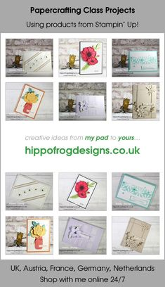 Projects from a recent Papercrafting Class. Designs are all Floral themed. All projects use products from Stampin' Up! Head to www.hippofrogdesigns.co.uk for full details Class Projects, Stampin Up, Bloom, Paper Crafts, Floral, Creative, Design, Products, Tissue Paper Crafts