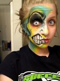 Colourful zombie make up. Could do this one night with my older Ranger Guide unit :)