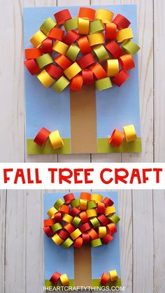Beautiful Craft Fall Kids Tree Celebrate the gorgeous red, yellow and orange colors of the fall season by making this easy fall tree craft. Simple fall craft for kids of all ages to enjoy making. Head to our website for the full hot to tutorial for Fall Paper Crafts, Easy Christmas Crafts, Halloween Crafts For Kids, Paper Crafting, Fun Crafts, Christmas Paper, Diy Paper, Wood Crafts, Summer Crafts