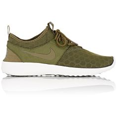 Nike Juvenate Sneakers ($85) ❤ liked on Polyvore featuring shoes, sneakers, green, lightweight shoes, nike sneakers, round cap, nike and lightweight sneakers