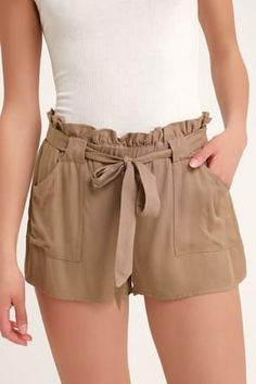 Hang your hammock in shady spot and kick back in the Coconut Tree Nude Drawstring Shorts! Cotton-blend high-waisted shorts and frayed hems. Nude Shorts, Brown Shorts, Best Running Shorts, Casual Dresses For Women, Clothes For Women, Paper Bag Shorts, Big Thighs, High Waisted Shorts, Fashion Outfits