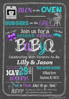 Gender Reveal Chalkboard Party BBQ Invitation Invite Baby Personalized
