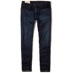 Hollister Skinny  Jeans (385 MXN) ❤ liked on Polyvore featuring men's fashion, men's clothing, men's jeans, dark wash, mens cuffed jeans, mens dark jeans, mens faded jeans and mens dark wash jeans