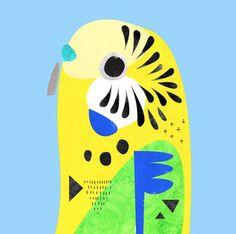 "Fine art print from the original ""Budgerigar"" Artwork by Pete Cromer.Signed and numberedUnframed. Bird Artwork, Idee Diy, Australian Animals, Bird Illustration, Creature Design, Bird Prints, Cute Art, Art Lessons, Illustrations Posters"