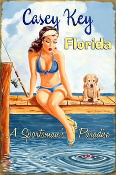 Wooden vintage pin up girl sign for my patio Vintage Florida, Old Florida, Sarasota Florida, Florida Travel, Florida Beaches, Vintage Travel Posters, Vintage Ads, Vintage Tiki, Retro Posters