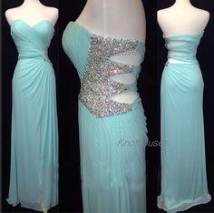 Sweetheart Beaded waist Hole Long blue chiffon prom dress