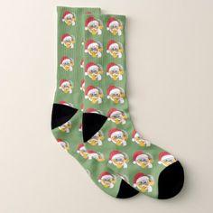 #Santa's List Emoji Christmas Socks - #emoji #emojis #smiley #smilies