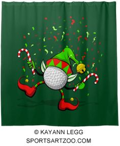 Golf Dancing Christmas Elf Shower Curtain by SportsArtZoo #golf #Christmas #decor
