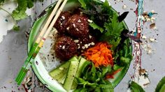 Bun cha is a Vietnamese dish made from pork and noodles. Our version is pimped with free range mince pork, rice noodles, mixed leaf salad, cucumber, carrot and loads of fresh herbs.