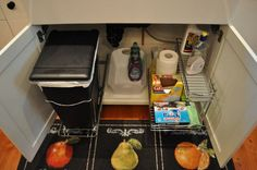 pinterest under sink trash cans | ... under my sink organized and I HATE my trash can in the corner of my