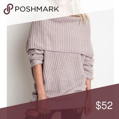 Ribbed Sweater Beautiful long sleeve fold over ribbed sweater. Color is LT. Mauve. Sweater is new, direct from maker, no tags attached. 65% Cotton, 35% Polyester. Hand wash.  Price firm unless bundled!  Bundle and get 15% off!  Sweaters