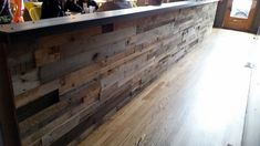 FOR THE BAR FRONT!!!! .... Pallet wood wall panels from Sustainable Lumber Co.