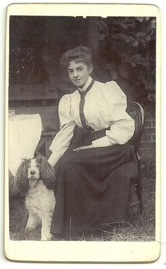 Victorian cdv  photo Dogs young woman & Dog Spaniel unstated   photographer  | eBay