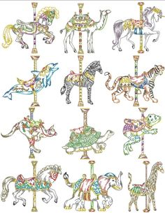 A very beautiful embroidery. Carousel horses.