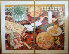 """""""Venus & Peaches on the Kilim"""" by Morrie Rohrlick, 2 panels, each 25"""" x 41"""" (framed), acrylics & colored pencils on paper (#87)"""