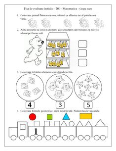 FISA de evaluare initiala - Grupa mare - DS - Matematica | Fise de lucru - gradinita Insect Activities, Motor Skills Activities, Toddler Activities, Letter Tracing Worksheets, Kids Math Worksheets, Math For Kids, Games For Kids, Numbers Preschool, Math 2