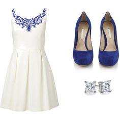 Forever New high neck dress, $125 / Nicholas Kirkwood hidden platform pumps, $715 / Blue Nile jewelry
