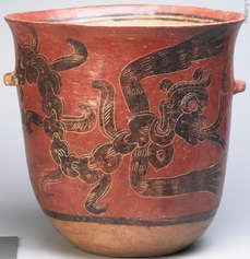 """Large pot with a picture of the god of cocoa """"Ek Chuah"""", Mayan culture, Guatemala / Mexico, 300-600 AD Learn the history of chocolate: http://www.barry-callebaut.com/1585"""