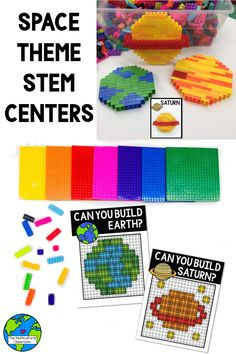 Space theme STEM challenges with Legos Lego Classroom Theme, Multicultural Classroom, Elementary Science Classroom, Space Activities, Stem Activities, Kindergarten Activities, Preschool, Summer Camp Themes, Summer Camps For Kids