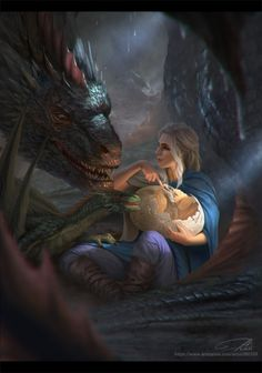 I don't really get why the dragons are all different ages, but it's a really nice piece of artwork.