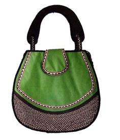 HAND-BAG MADE FROM WOVEN ARROW CANE & SYNTHETIC LEATHER.